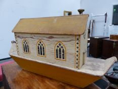 A WAR RELIEF TOY WORK NOAH'S ARK, THE YELLOW HOUSE BOAT WITH THREE GOTHIC ARCHED WINDOWS EACH SIDE