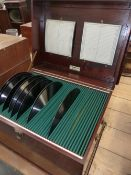 THE ALMA CABINET IN MAHOGANY, THE BAIZE LINED INTERIOR TO TAKE FIFTY RECORDS, INDEX CARDS TO WHICH