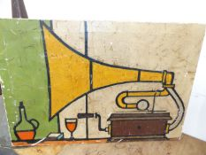 AN INTERESTING ABSTRACT OIL ON CANVAS OF A HORN GRAMOPHONE, SIGNED P. POVEY.