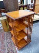 A GOOD LATE VICTORIAN OAK FOUR TIER REVOLVING BOOKCASE. 60 x 60 x H.120cms.
