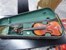 A WOODEN CASED VIOLIN LABELLED FOR NICOLAUS AMATUS, THE BACK. H 32cms.