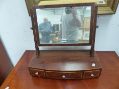 A LATE GEORGIAN INLAID MAHOGANY BOWFRONT DRESSING TABLE MIRROR WITH THREE DRAWERS. W 49.5cms.