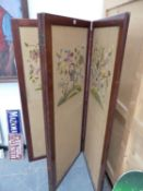 A VICTORIAN MAHOGANY FRAMED FOUR FOLD SCREEN WITH TAPESTRY PANELS. EACH PANEL W.64 x H.153cms.