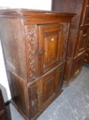 AN 18th.C. AND LATER FRENCH PROVINCIAL OAK TWO DOOR LARDER CABINET WITH CARVED DECORATION. 91 x 53 x