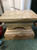 A HEAVY ONYX/MARBLE PLINTH OR BASE FOR A SCULPTURE, WITH ORMOLU SWAG MOUNTS. H. 36 x W. 46 x D.