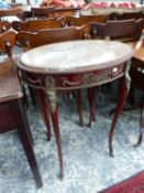 A FRENCH OVAL MARBLE TOP TABLE WITH ORMOLU MOUNTS AND FITTED DRAWER. 58 x 38cms.