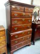 A GEO.III.MAHOGANY TALLBOY CHEST ON CHEST OF SIX LONG GRADUATED DRAWERS WITH PIERCED BRASS HANDLE