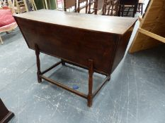 AN 18th.C.OAK AND ELM DOUGH BIN ON TURNED SUPPORTS. W.117 x D.44 x H.76cms.