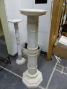 TWO ANTIQUE CARVED MARBLE PEDESTALS, EACH COMPOSED OF TURNED AND CARVED SECTIONS, WITH OCTAGONAL