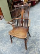 AN 18th.C.COUNTRY COMB BACK, RAIL TOP ARMCHAIR WITH CENTRAL SHAPED BACK SPLAT.