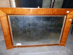 AN ANTIQUE MAPLE OVERMANTLE MIRROR. 62 x 96cms.