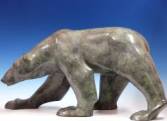 JONATHAN KNIGHT (1959-) ARR. PATINATED BRONZE OF A POLAR BEAR WALKING. SIGNED AND MONOGRAMED,
