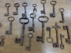 A COLLECTION OF IRON KEYS.