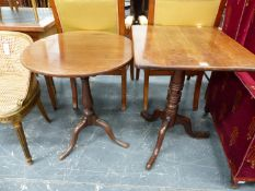 AN EARLY 19th.C.MAHOGANY BIRDCAGE TILT TOP TRIPOD TABLE. Dia.61cms TOGETHER WITH A SIMILAR PERIOD