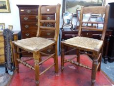 A PAIR OF COUNTRY FRENCH RUSH SEAT CHAIRS