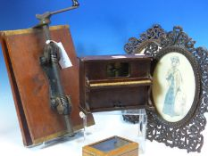 A DOWNIES PATENT MAHOGANY BOOK PRESS, A COLLECTORS BOX WITH SLIDE OFF LID. W 40.5cms. TWO OVAL