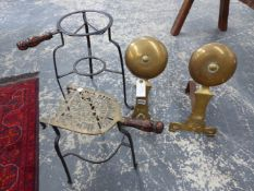 TWO GEORGIAN IRON AND BRASS TRIVETS, TOGETHER WITH A PAIR OF BRASS ARTS AND CRAFTS BRASS ANDIRONS.
