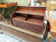 A 19th.C.AND LATER MAHOGANY TABLE CABINET OF NINE DRAWERS WITH GALLERY SHELVES ABOVE. 89.5 x 42 x