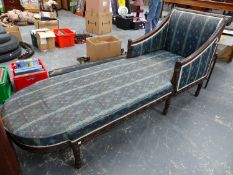 A 19th.C.FRENCH CARVED SHOW FRAME CHAISE LOUNGE. L.220cms.