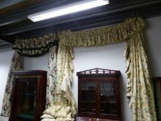 VARIOUS PAIRS OF CHINTZ LINED AND INTERLINED FLORAL PATTERN CURTAINS WITH RELATED HANGINGS AND