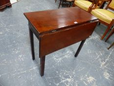 A 19th C. MAHOGANY TABLE WITH SINGLE RECTANGULAR FLAP OPENING ON SINGLE GATE, THE SQUARE SECTIONED