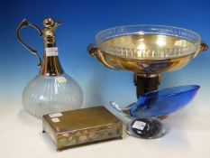 A CHROME MOUNTED GLASS CLARET JUG, A CIGARETTE BOX, AN ART DECO GLASS LINED TWO HANDLED TAZZA AND
