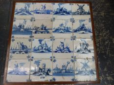 A GROUP OF 16 EARLY DELFT BLUE AND WHITE TILES INSET INTO THE TOP OF A LOW OAK COFFEE TABLE.