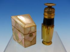 A MOTHER OF PEARL MOUNTED THIMBLE AND NEEDLE CASE TOGETHER WITH AN AROMYS SCENT SPRAY SET WITH