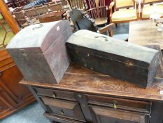 AN EARLY 19th.C.STAINED PINE DOME TOP BOX, POSSIBLY A HAT BOX TOGETHER WITH A 19th.C.PINE MUSICAL