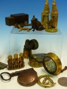 A COLLECTION OF MISCELLANEA TO INCLUDE CHINESE SOAPSTONE SEALS, CORKSCREWS, COINS, MEDALLIONS, A