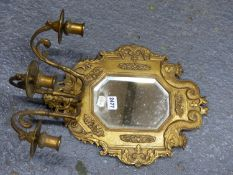 A SET OF FOUR ORMOLU THREE CANDLE GIRANDOLE MIRRORS, THE CANTED RECTANGULAR PLATES IN FRAMES