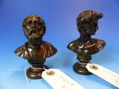 BRONZE BUSTS OF OMERO AND DAVID BOTH SUPPORTED ON SOCLE BASES. H 10cms.
