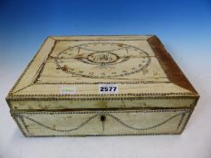 A VIZAGAPATAM IVORY MOUNTED BOX, THE LID WITH A CHAIN DESIGN OVAL ENCLOSING THE INITIALS S A S. W