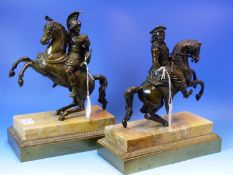 A PAIR OF 19th.CENTURY EQUESTRIAN BRONZES OF A COSSACK AND A ROMAN SOLDIER, THEIR HORSES REARING ON