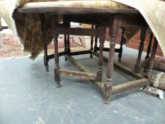 AND ANTIQUE 18TH C. AND LATER LARGE OAK DOUBLE GATELEG DINING TABLE 137 X 176CM