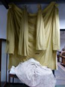 TWO PAIRS OF GOLD FLORAL PATTERN LINED CURTAINS WITH A LARGE MATCHING PANEL. TOGETHER WITH A PAIR OF