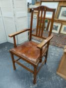 A SET OF SIX EARLY 20th.C.OAK DINING CHAIRS, INCLUDING TWO ARMCHAIRS WITH LEATHER SEAT PADS (6).