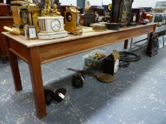 A LARGE MAHOGANY LIBRARY TABLE ON PLAIN SQUARE LEGS. W.306 x D.76 x H.76cms.