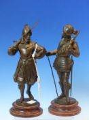 EMILE GUILLEMIN (1841-1907), A PAIR OF BRONZE FIGURES OF 16th C. SOLDIERS, ONE CARRYING A MUSKET AND