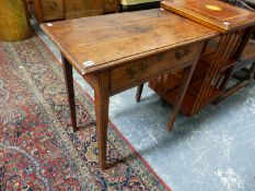 AN 18th.C.YEW WOOD COUNTRY SIDE TABLE WITH FRIEZE DRAWER ON SQUARE TAPERED LEGS. W.77 x D.44 x H.