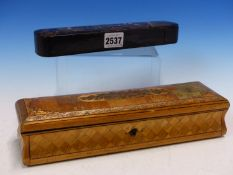 A 19th C. STRAW WORK BOX WITH FLORAL PANEL WORKED ON THE HINGED LID. W 27.5cms. TOGETHER WITH A