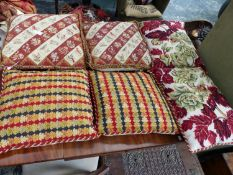 SIX NEEDLEPOINT SCATTER CUSHIONS.