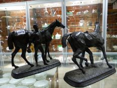 A PAIR OF 19TH CENTURY BRONZE PATINATED SPELTER FIGURE OF MARLEY HORSES