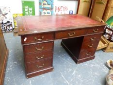 A VICTORIAN OAK TWIN PEDESTAL DESK WITH LEATHER INSET TOP. W.138 x D.75cms.