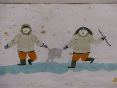 INUIT ART. MOSESEE NOVAKEEL (1945 - ****). HAPPY WITH THEIR LIVES. PENCIL SIGNED AND NUMBERED 6/50