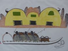 INUIT ART. PUDIO (DORSET 1916-****). CHILDREN ON A SLEDGE. PENCIL SIGNED AND NUMBERED 30/50. 1975.