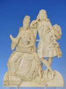 AN 18TH CENTURY DIEPPE CARVED IVORY PANEL DEPICTING A LADY AND HER SUITOR 17.5 CM HIGH