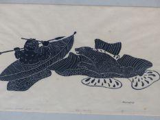INUIT ART. AGNES NANOGAK (HOLMAN 1925 - ****). BEAR HUNTING, PENCIL SIGNED AND NUMBERED 24/50.