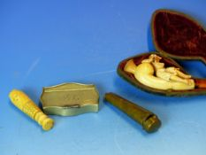A MEERSHAUM PIPE, A CHEROOT HOLDER, A NICKLE SNUFF BOX AND AN IVORY SEAL
