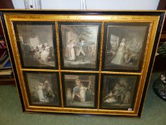 """A DECORATIVELY FRAMED GROUP OF SIX ANTIQUE COLOUR PRINTS AFTER GEORGE MORLAND """"THE LETITIA SERIES"""","""